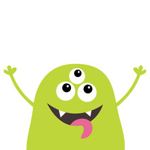 Monster Scary Screaming Face Head Icon. Eyes, Fang Tooth, Tongue, Hands Up. Cute Cartoon Boo Spooky Character. Green Silhouette. Kawaii Funny Baby. Happy Halloween. Flat Design. White Background