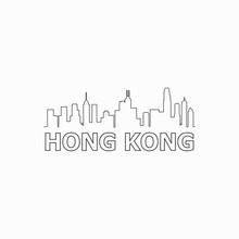 Hong Kong  Skyline And Landmarks Silhouette Black Vector Icon. Hong Kong  Panorama. China