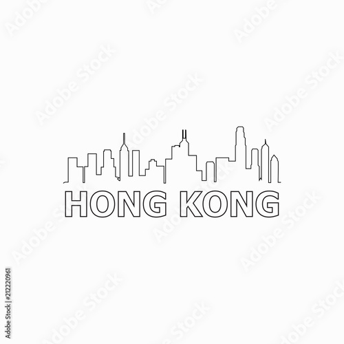 Hong Kong  skyline and landmarks silhouette black vector icon Tableau sur Toile