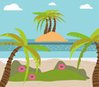 Palm and tropical beach, island, exotic flowers, flat vector