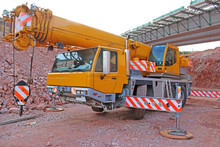Mobile Crane On A Construction...