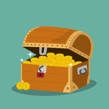 Treasure Chest With Golden Coi...
