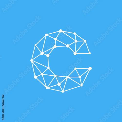 Vector Logo Letter C Dots Lines
