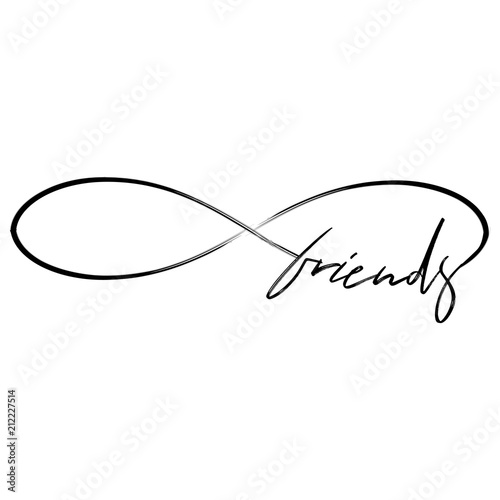 Fotografie, Obraz  Friends in infinity shape - lovely lettering calligraphy quote