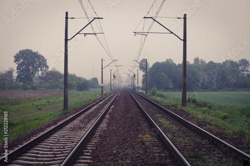 Diminishing perspective of empty railway tracks
