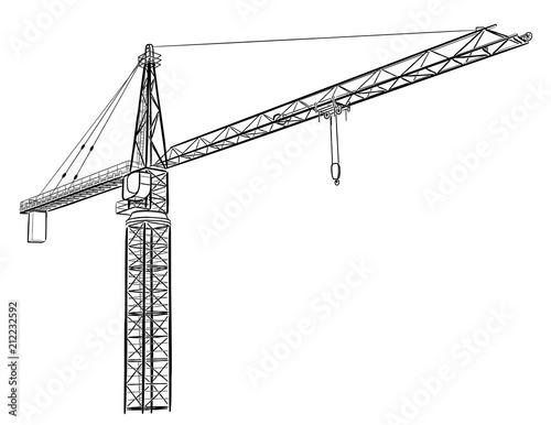 Tower construction crane. Fototapet