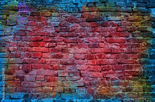Paint splash, graffiti brick wall, colorful background © adzicnatasa