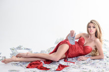 Sexy Rich Woman In Red Dress H...