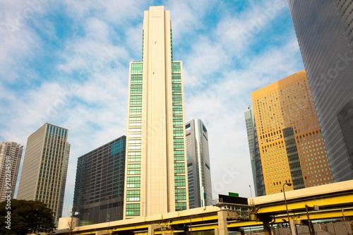 In de dag Tokyo Skyscrapers at Shiodome Area, Shimbashi, Tokyo, Kanto Region, Honshu, Japan
