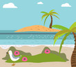 Summer background, poster in retro style with the sea, palm trees and seagulls. Vector