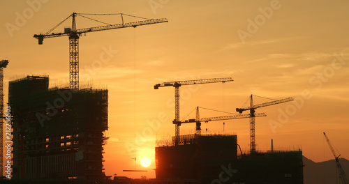 Foto op Canvas Stad gebouw Construction site in the evening