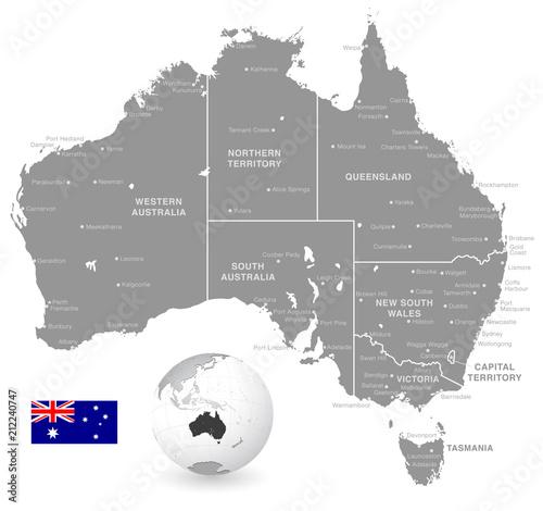 Map Of Australia Buy.Grey Vector Political Map Of Australia Buy This Stock Vector And