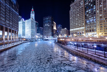 Frozen River In Winter, Chicago, America, USA