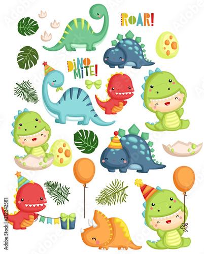 Stampa su Tela Dinosaur Birthday Theme