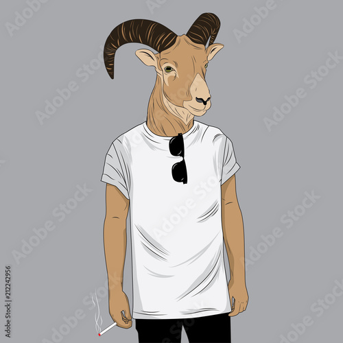 Canvas Print Deer dressed up in white t-shirt
