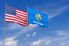 USA And Oklahoma Flags Over Bl...