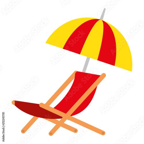 Obraz na plátně umbrella beach with chair