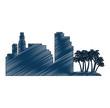 cityscape buildings with palms silhouette scene vector illustration design
