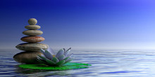 Zen Stones And Waterlilly On Blue Sea And Sky Background, Copy Space. 3d Illustration