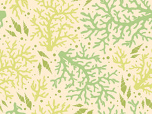Seamless Underwater Vector Pattern With Repeated Corals And Shells In Coral Red Palette. Hand Drawn Green Colorful Print For Textile, Paper Design, Backgrounds. Aquatic Sketchy Ornament