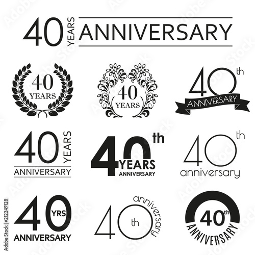 Fotografiet 40 years anniversary icon set