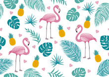 Summer Seamless Pattern Of Fla...