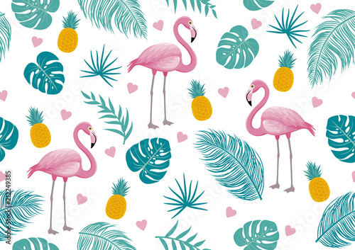 Fotografie, Obraz Summer seamless pattern of flamingo and tropical leaves vector illustration