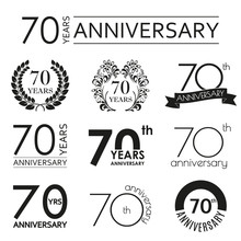 70 Years Anniversary Icon Set. 70th Anniversary Celebration Logo. Design Elements For Birthday, Invitation, Wedding Jubilee. Vector Illustration.