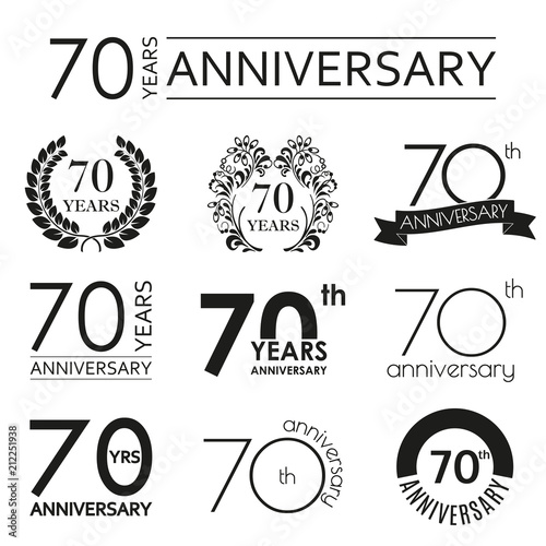 Fototapeta 70 years anniversary icon set