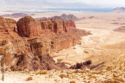 Poster Landschap Desert mountain range cliffs landscape view, Israel nature.