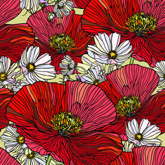 Panel Szklany Maki Seamless pattern with flowers poppy