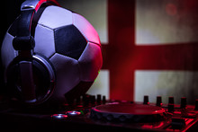 Soccer 2018 Club Party Concept. Close Up View Of Dj Deck With Selective Focus. Useful As Club Poster.