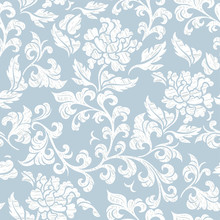Seamless Pattern With Poppy, Peonies Or Roses Flowers– Stock Illustration