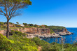 Idyllic coast view of Majorca island, beautiful island scenery of seaside at Santanyi, Spain Mediterranean Sea