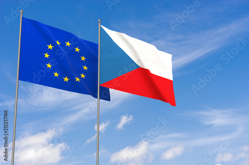 European Union and Czech Republic flags over blue sky background. Poster