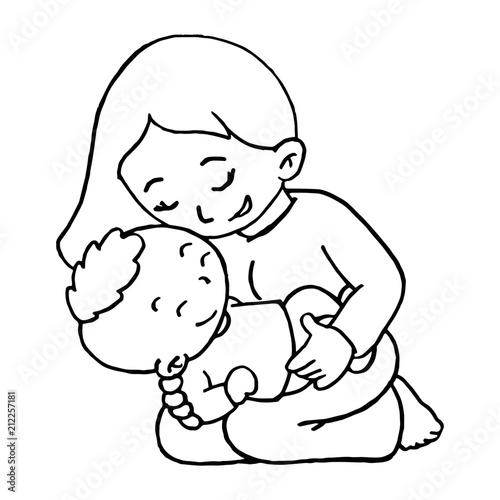 Mother Love Her Baby Cartoon Illustration Isolated On White Background For Children Color Book Buy This Stock Vector And Explore Similar Vectors At Adobe Stock Adobe Stock