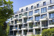 Leinwanddruck Bild - Fassade eines modernen Wohngebäudes in Hamburg, Deutschland