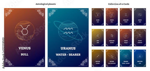 Obraz Astrological planets and corresponding zodiac sign symbols with labels. Illustrated vector horoscope cards collection. Esoteric universe astrology system science. - fototapety do salonu