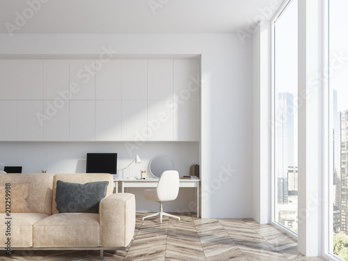 Fotografia, Obraz  White living room and home office interior