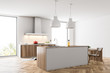 Wooden and white loft kitchen corner with a cooker