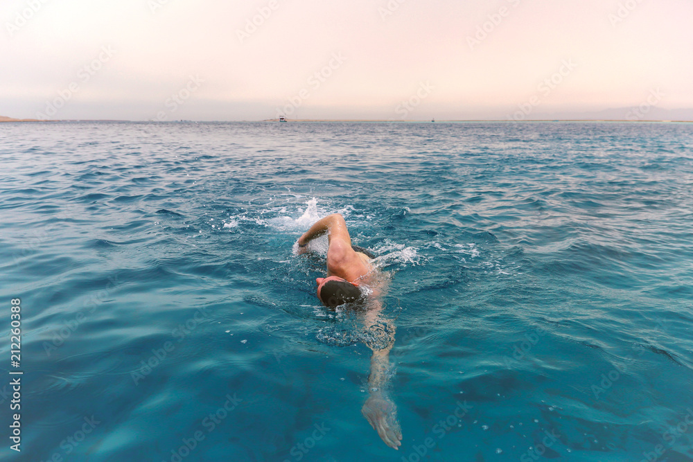 Fototapety, obrazy: Young man swimming front crawl in sea