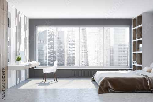 Gray master bedroom interior, bookcases side view – kaufen ...