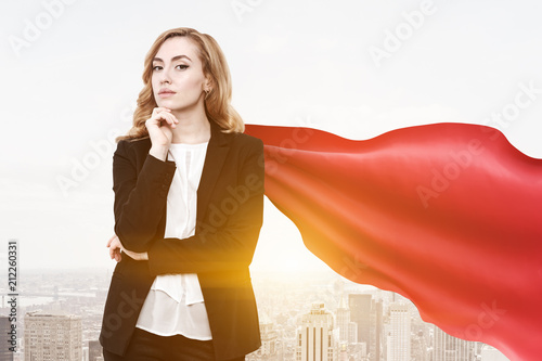 Superwoman businesswoman finance superhero, city фототапет