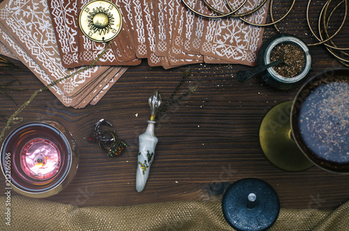 Tarot cards on fortune teller table. Divination. Witchcraft. Wallpaper Mural
