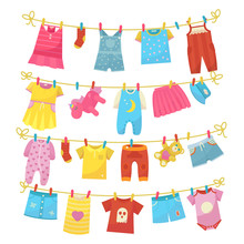 Children Clothes On Rope