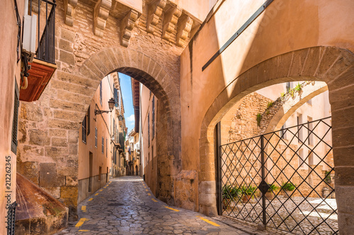 Poster Historisch geb. Idyllic narrow street with gate of Almudaina at the old historic city center of Palma de Mallorca