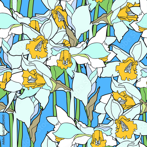 Seamless pattern with beautiful narcissus flowers in art nouveau style Wall mural