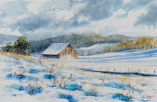 An Old Abandoned Barn House Has Been Covered With Snow On The Fields.Picture Created With Watercolors.
