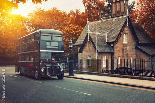 Classic Old Double Decker Bus in motion, Edinburgh, Scotland © Dmitry Pistrov