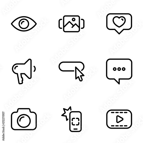 Fotografija  Set of black vector icons, isolated on white background, on theme Modern Interne